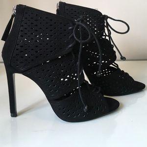 Zara Basic Black Peep Toe Lace Up Heels Size 40